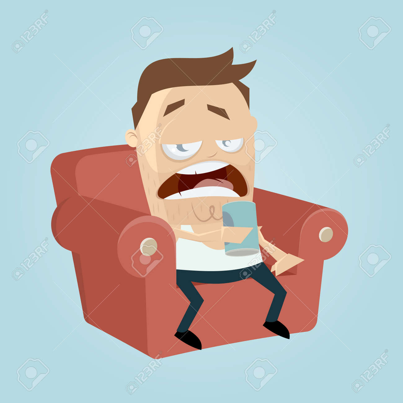hight resolution of clipart of a bored man sitting on the sofa and drinking beer of a can stock