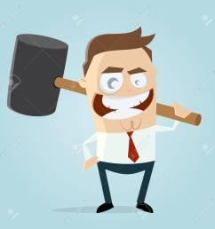 aggressive businessman with big hammer clipart stock vector 84561789 [ 1300 x 1300 Pixel ]