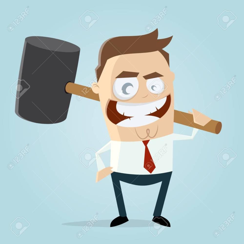 medium resolution of aggressive businessman with big hammer clipart stock vector 84561789