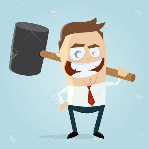 small resolution of aggressive businessman with big hammer clipart stock vector 84561789