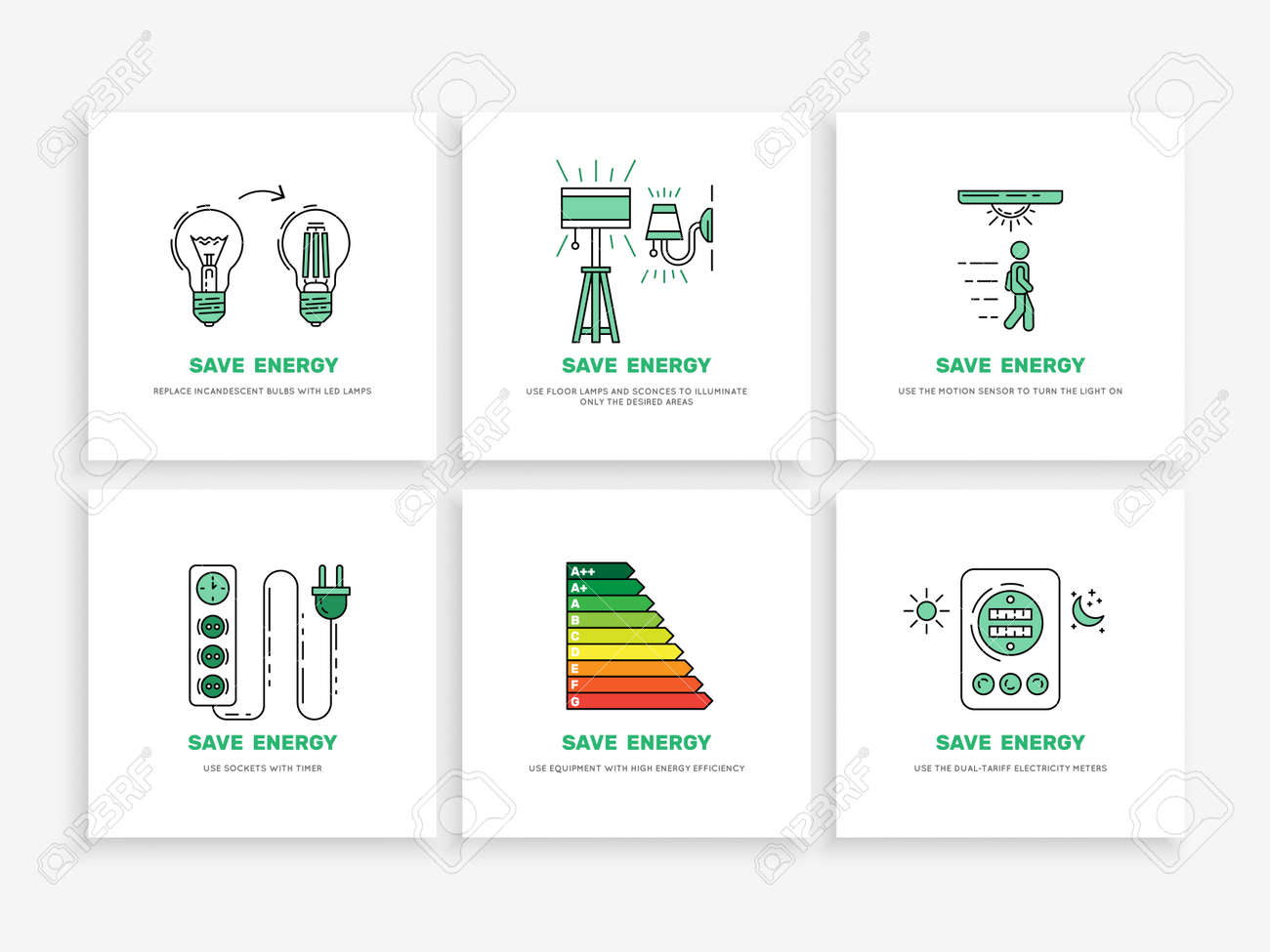 Set Of Vector Banners Save Electricity Isolated On White Background Royalty Free Cliparts Vectors And Stock Illustration Image 81008031