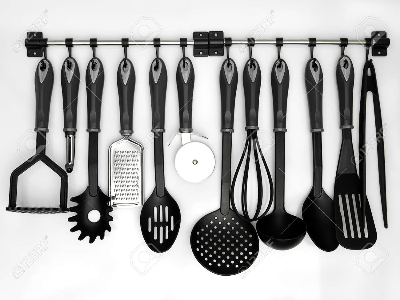 kitchen tool cheap unfinished cabinets utensils hanging white background stock photo picture and 16559772