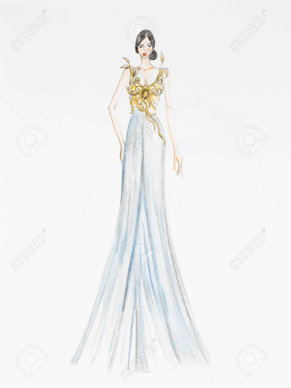 Diseños De Vestidos Elegantes Para Dibujar Decoración De Uñas