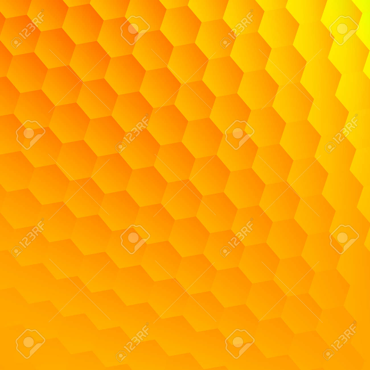 Abstract Yellow Hexagons Background. Cool Hexagon Grid. Hex Shape Geometry.  Flat Design Element