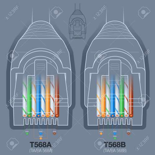 small resolution of rj45 network cable connector t568a t568b wiring diagram stock vector 45694360