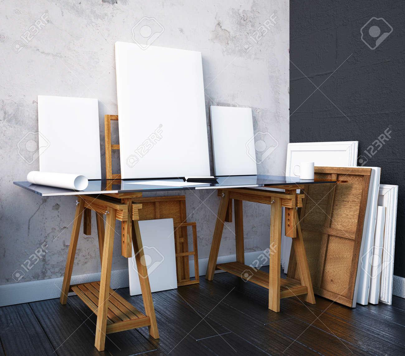 interieur maquette atelier d artiste bureau banque d images
