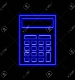 calculator neon sign bright glowing symbol on a black background neon style icon  [ 1300 x 1300 Pixel ]