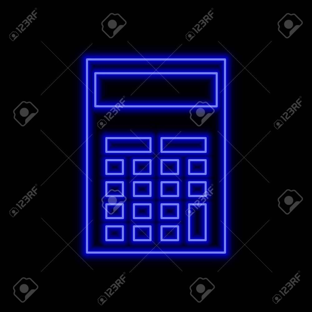 medium resolution of calculator neon sign bright glowing symbol on a black background neon style icon