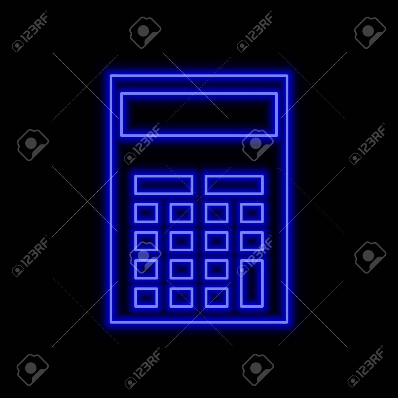 hight resolution of calculator neon sign bright glowing symbol on a black background neon style icon