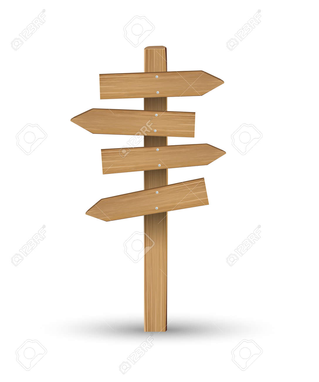 wood direction signs on