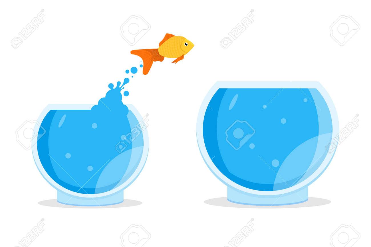 hight resolution of goldfish jumping out of bowl aquarium vector illustration stock vector 87535925