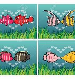 clown fish moorish idol angel fish butterfly fish romantic couple with underwater scenery [ 1300 x 1006 Pixel ]