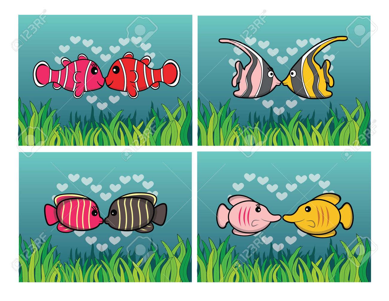 hight resolution of clown fish moorish idol angel fish butterfly fish romantic couple with underwater scenery