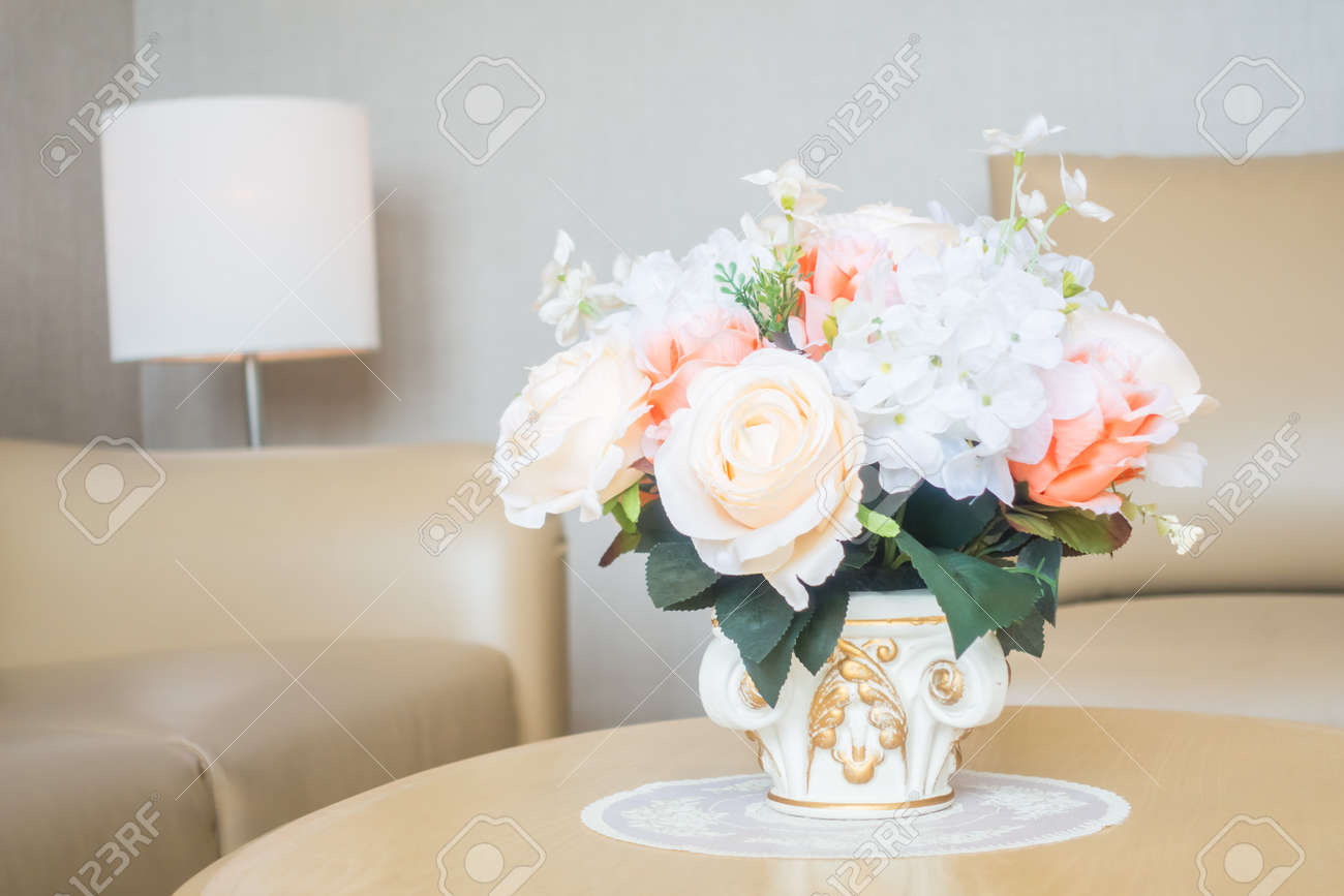 living room flower vases comfortable sets beautiful vase on table decoration in area interior stock photo 65641543