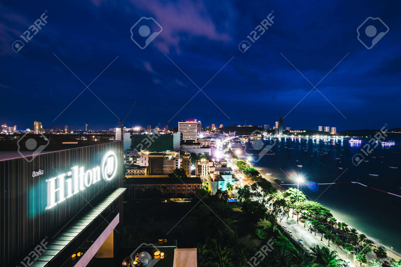 Pattaya Thailand 9 June 2018 Hilton Hotel Sign With Pattaya