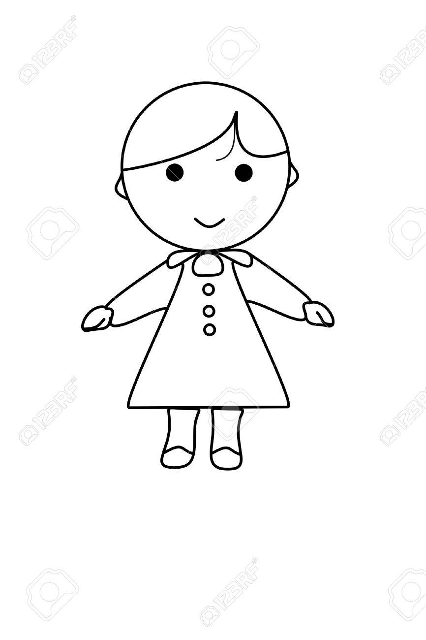 Simple Cartoon Girl : simple, cartoon, Simple, Cartoon, White, Stock, Photo,, Picture, Royalty, Image., Image, 18076269.