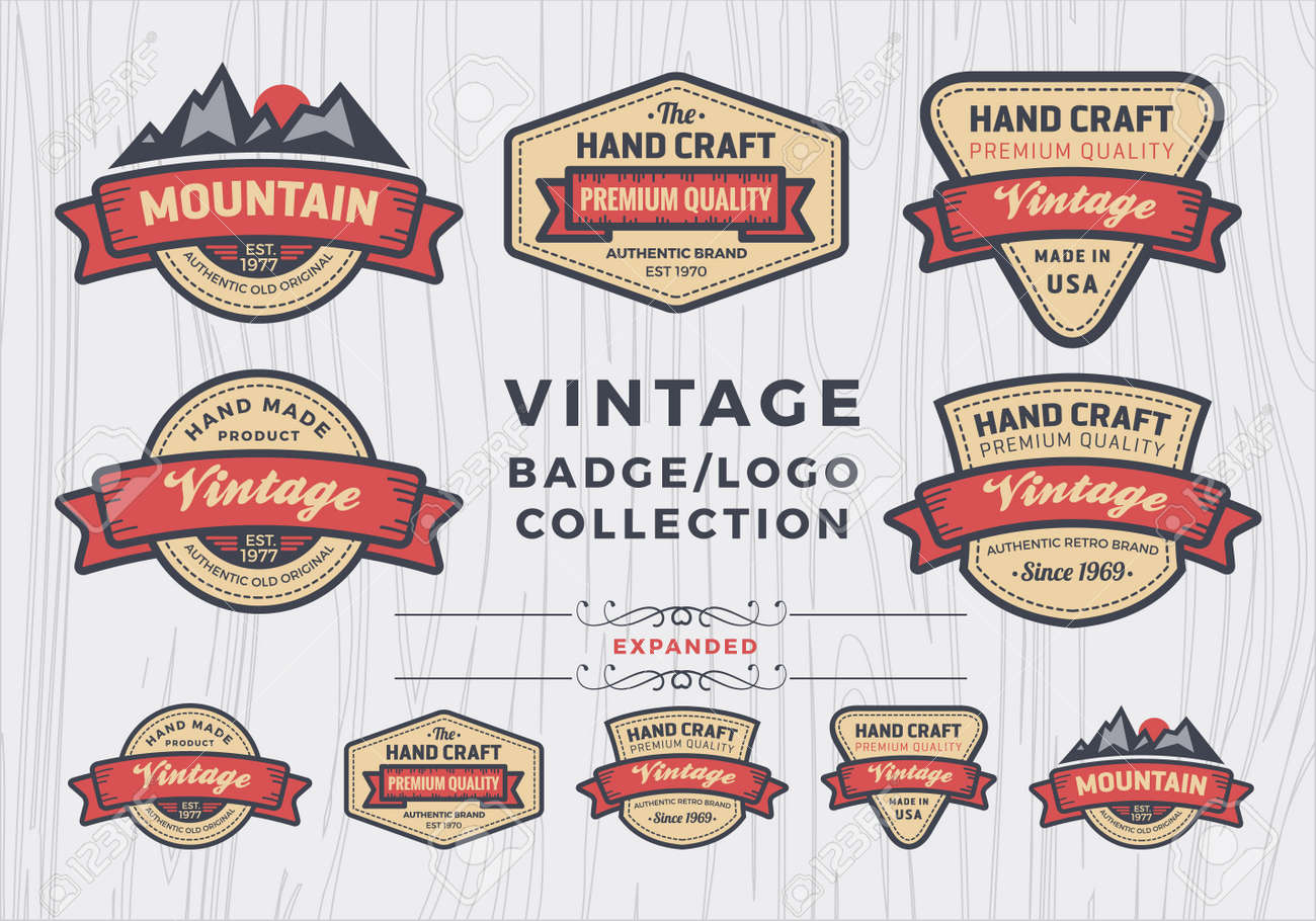 set of vintage badgelogo