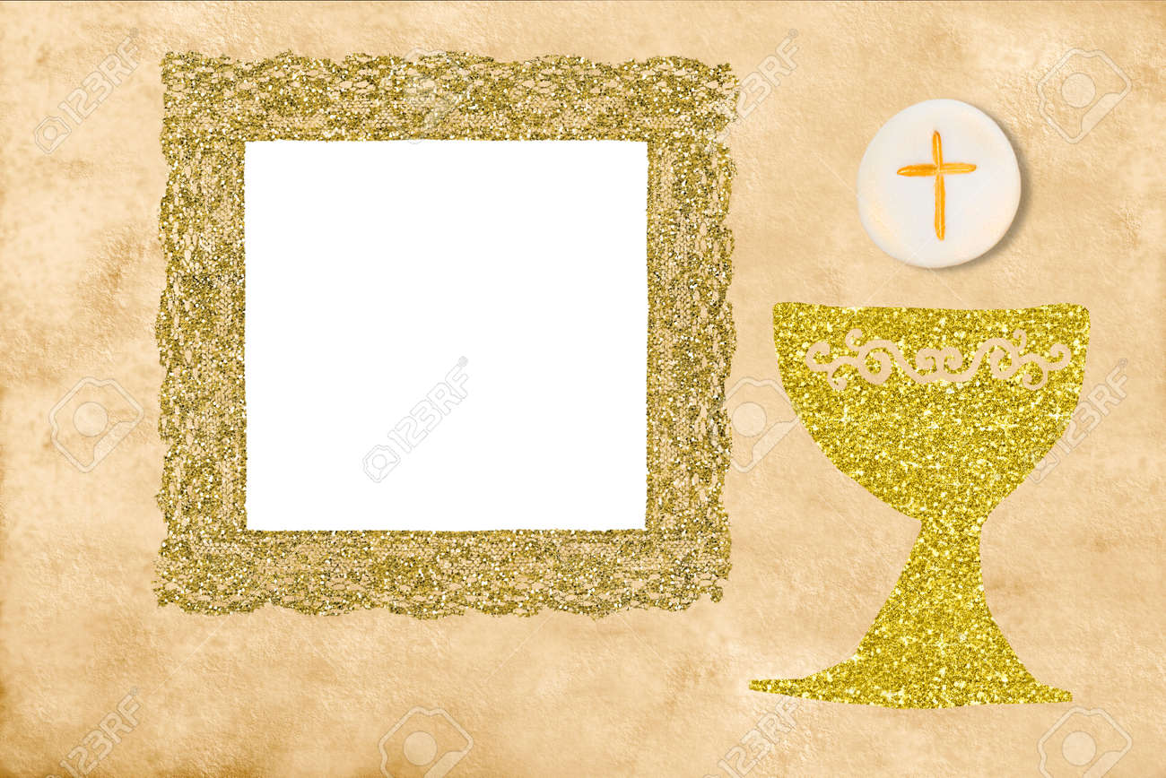 first holy communion invitation card golden chalice and gold