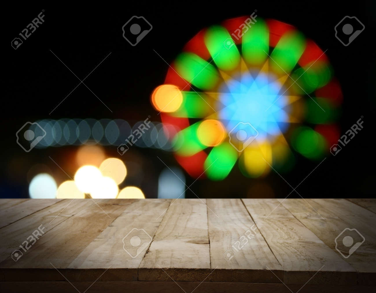 hight resolution of christmas holiday background with empty wooden deck table over christmas tree empty display for montage