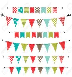 christmas banner bunting or flags on transparent background for scrapbooking vector format stock [ 1259 x 1300 Pixel ]