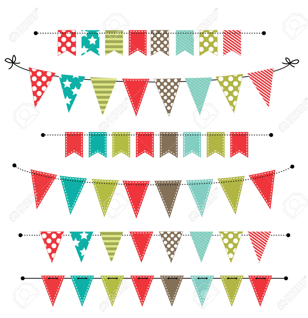 hight resolution of christmas banner bunting or flags on transparent background for scrapbooking vector format stock