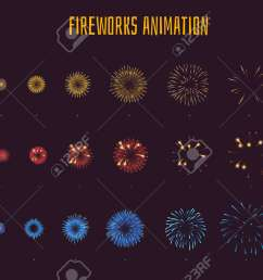 vector vector cartoon style set of game fireworks explode effect burst sprites for animation game user interface gui element for video games  [ 1300 x 850 Pixel ]