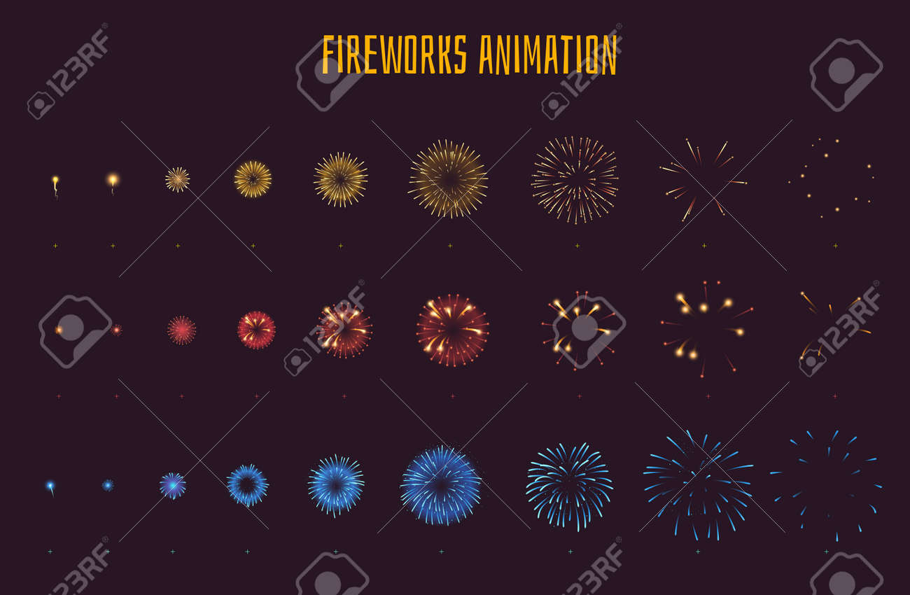 hight resolution of vector vector cartoon style set of game fireworks explode effect burst sprites for animation game user interface gui element for video games