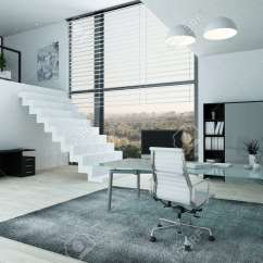 Desk Chair Home Office Kitchen Stool With Steps Modern Interior And Mezzanine Stock Photo 29180841