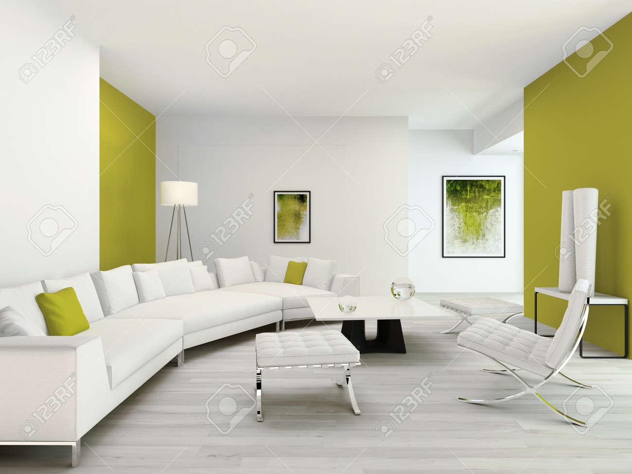 interieur vert et blanc pur salon avec des meubles modernes contemporain