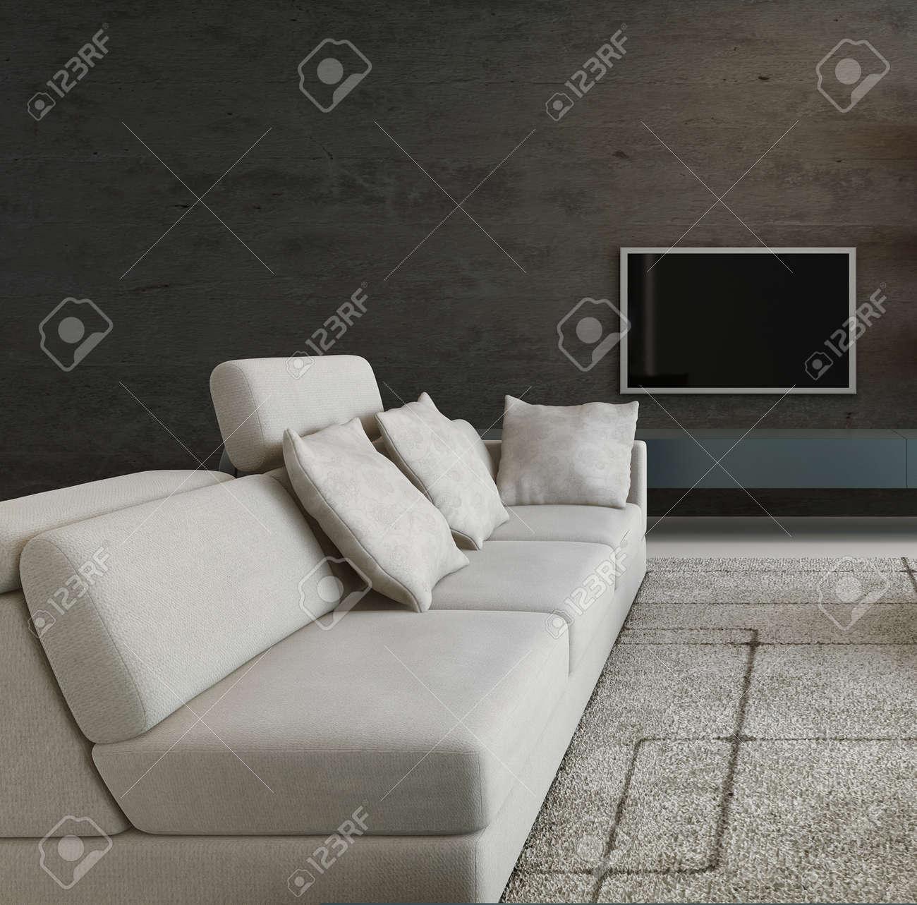 interieur du salon sombre avec canape blanc et tv suspendu un mur