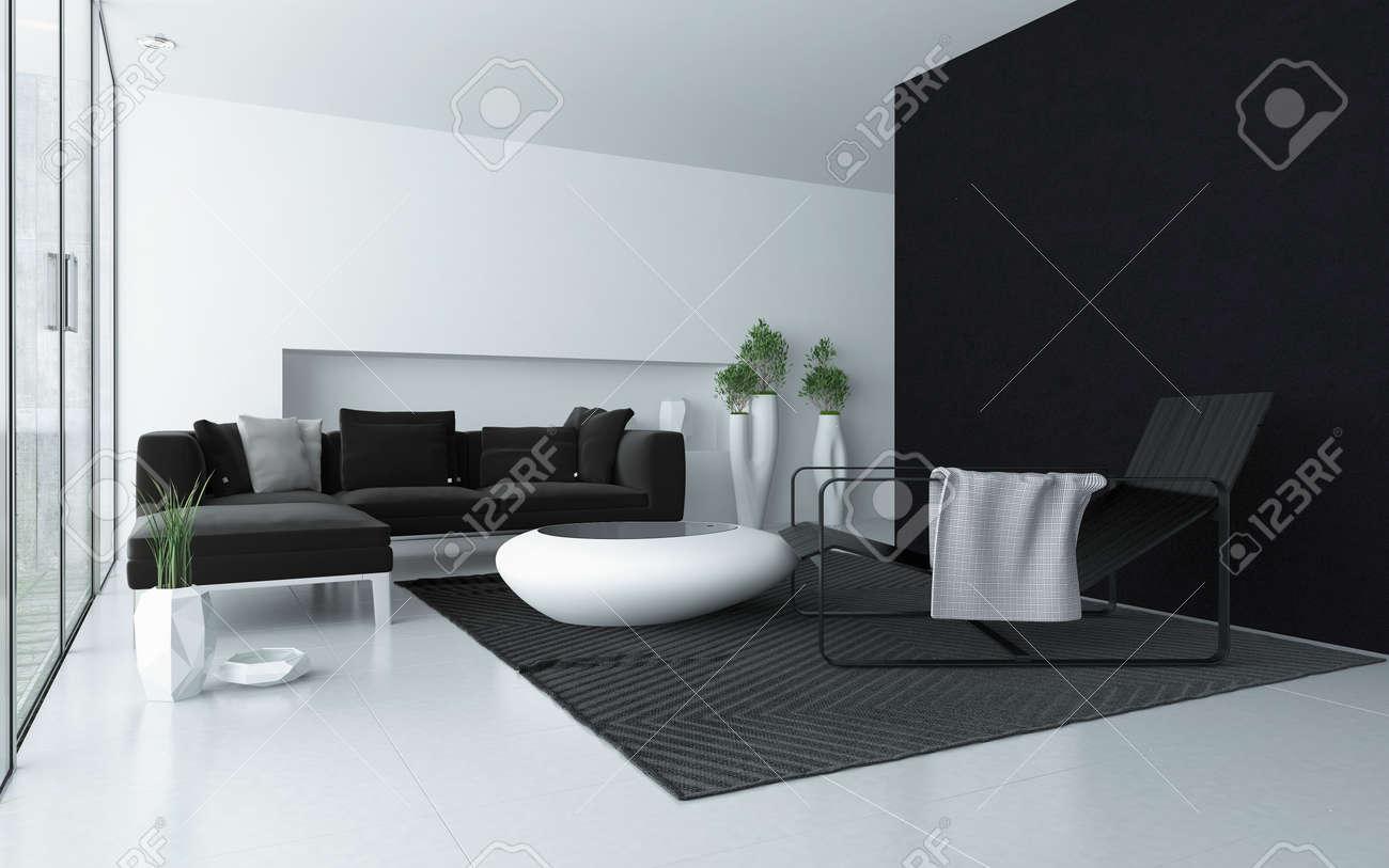 gris et blanc minimaliste moderne interieur du salon avec un mur noir d accent et de grandes baies vitrees avec une porte patio et une table de cafe a