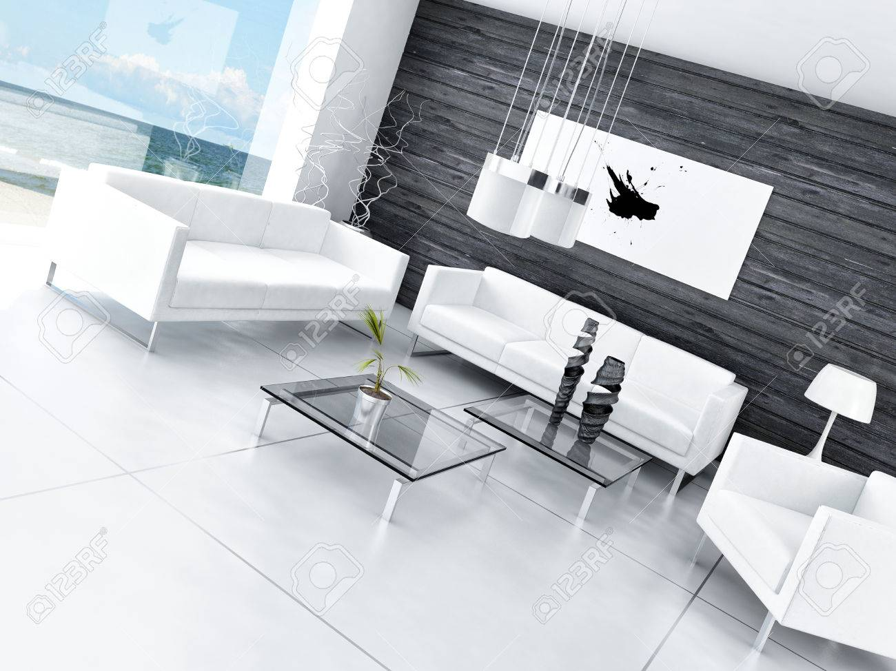 Wohnzimmer Modern Schwarz Weiß Modern Design Black And White Living Room Interior Stock Photo, Picture And Royalty Free Image. Image 31819061.