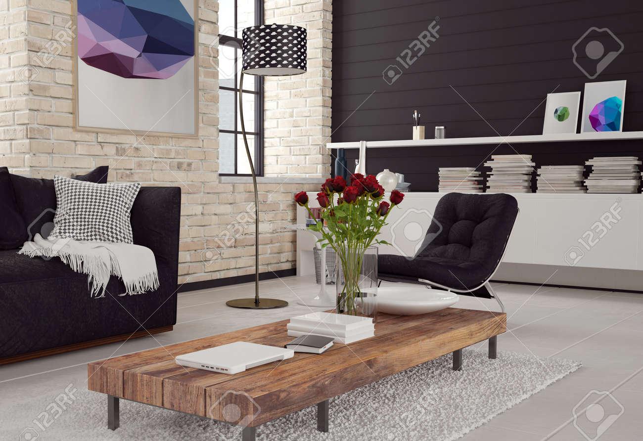 3d interieur moderne de salon dans un decor noir et blanc avec des murs de briques texturees un canape et un fauteuil autour d une table basse en
