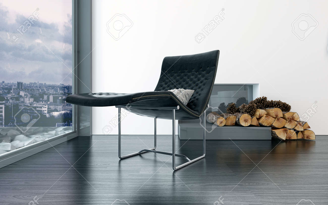 Black Leather Lounge Chair Cozy Black Leather Lounge Chair In Front Of Fireplace With Pieces