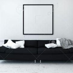 Living Room Cushions Kitchen Dining Ideas Black Sofa With White In Sparsely Decorated Modern Minimalist Artwork On Wall