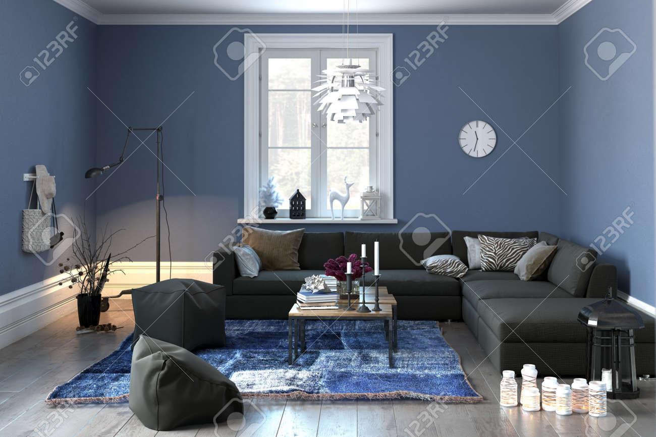 interieur d un salon ou le salon au decor moderne gris et bleu avec un canape confortable et pouf et unique fenetre centrale rendu 3d