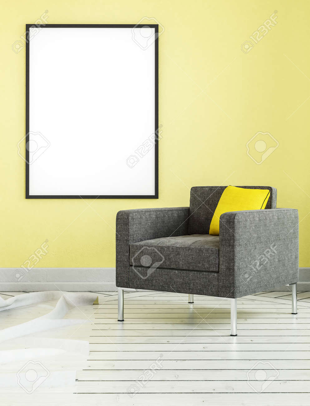 Yellow Living Room Chair Square Shaped Living Room Chair With Yellow Pillow And Empty