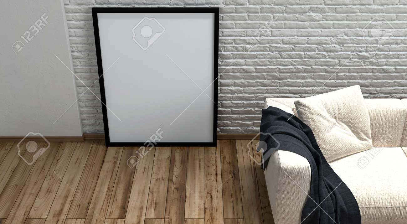 Large Blank Picture Frame Standing On A Wooden Floor Leaning