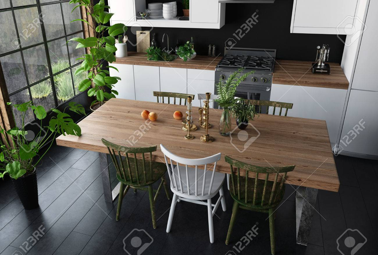 Modern Kitchen Chairs Dining Table With Wooden Surface And Chairs In Modern Kitchen