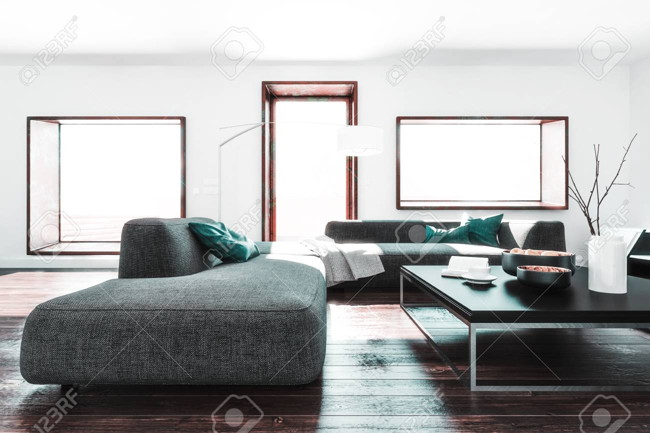 https www 123rf com photo 94673373 room with white walls long sofa and coffee table on dark wooden floor modern furniture and interior html