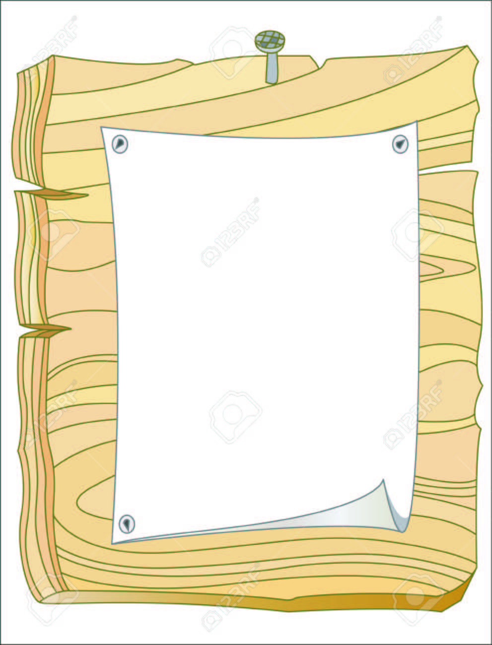 hight resolution of vector wooden bulletin board with white paper and blank space for text