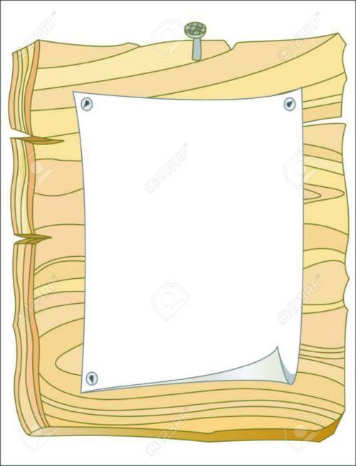 small resolution of vector wooden bulletin board with white paper and blank space for text