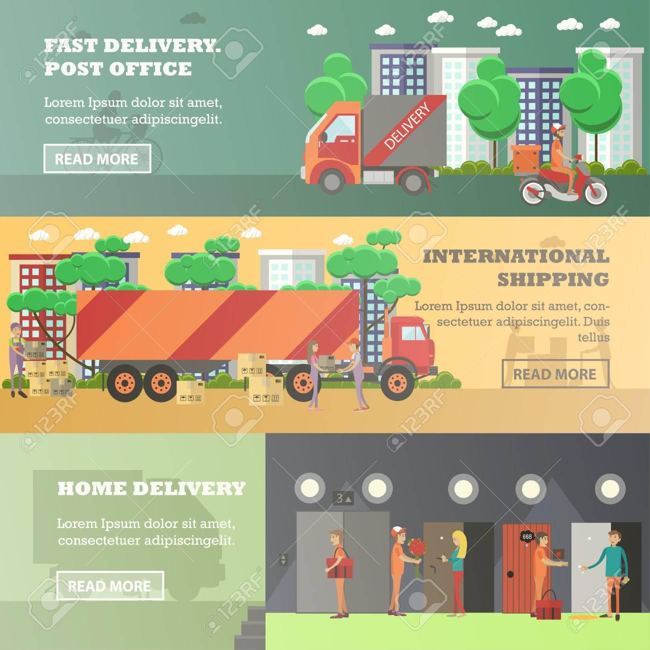 livraison rapide bureau de poste expedition internationale livraison a domicile des elements de conception de style plat