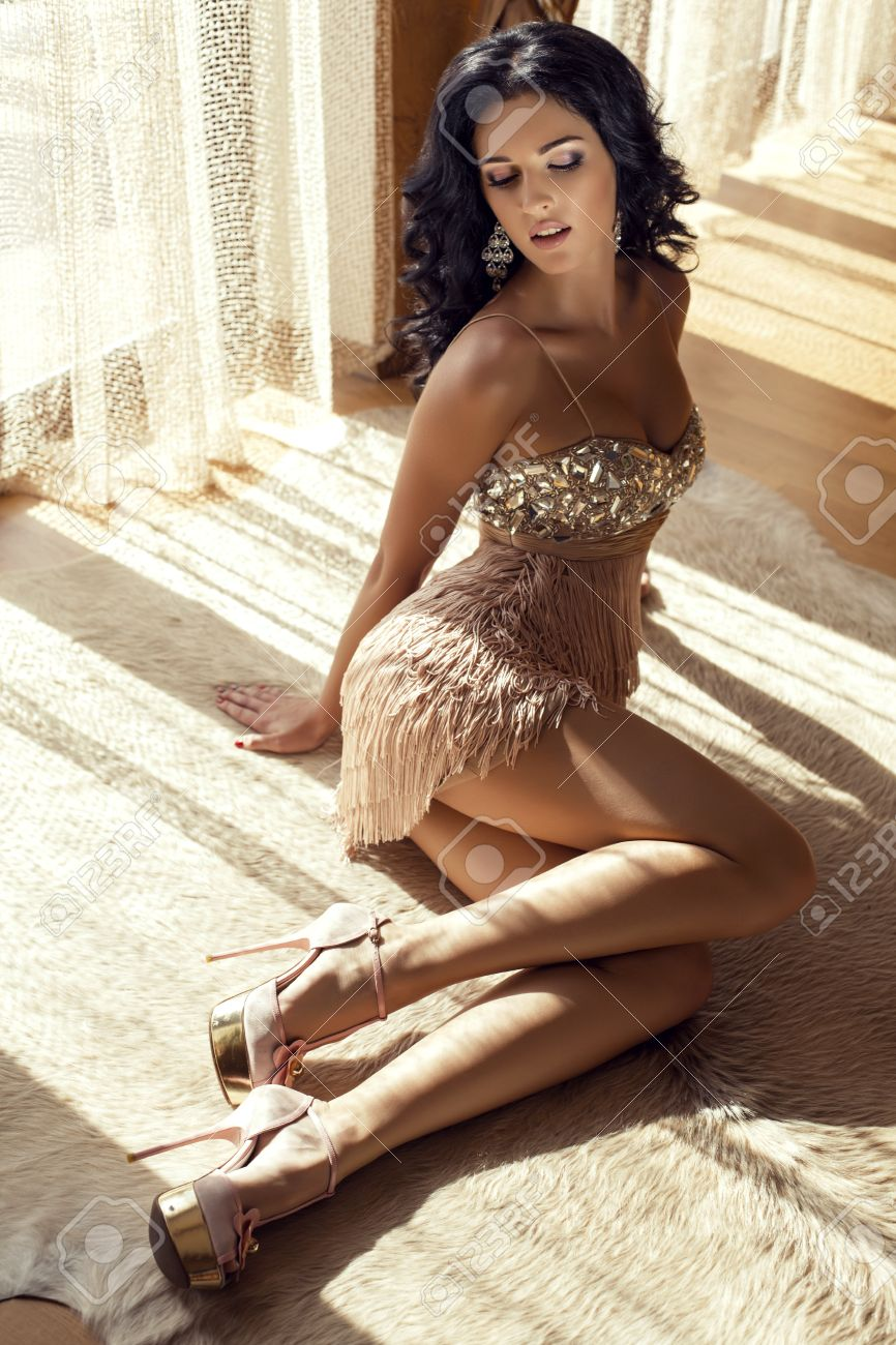fashion photo of beautiful glamour woman with black hair in