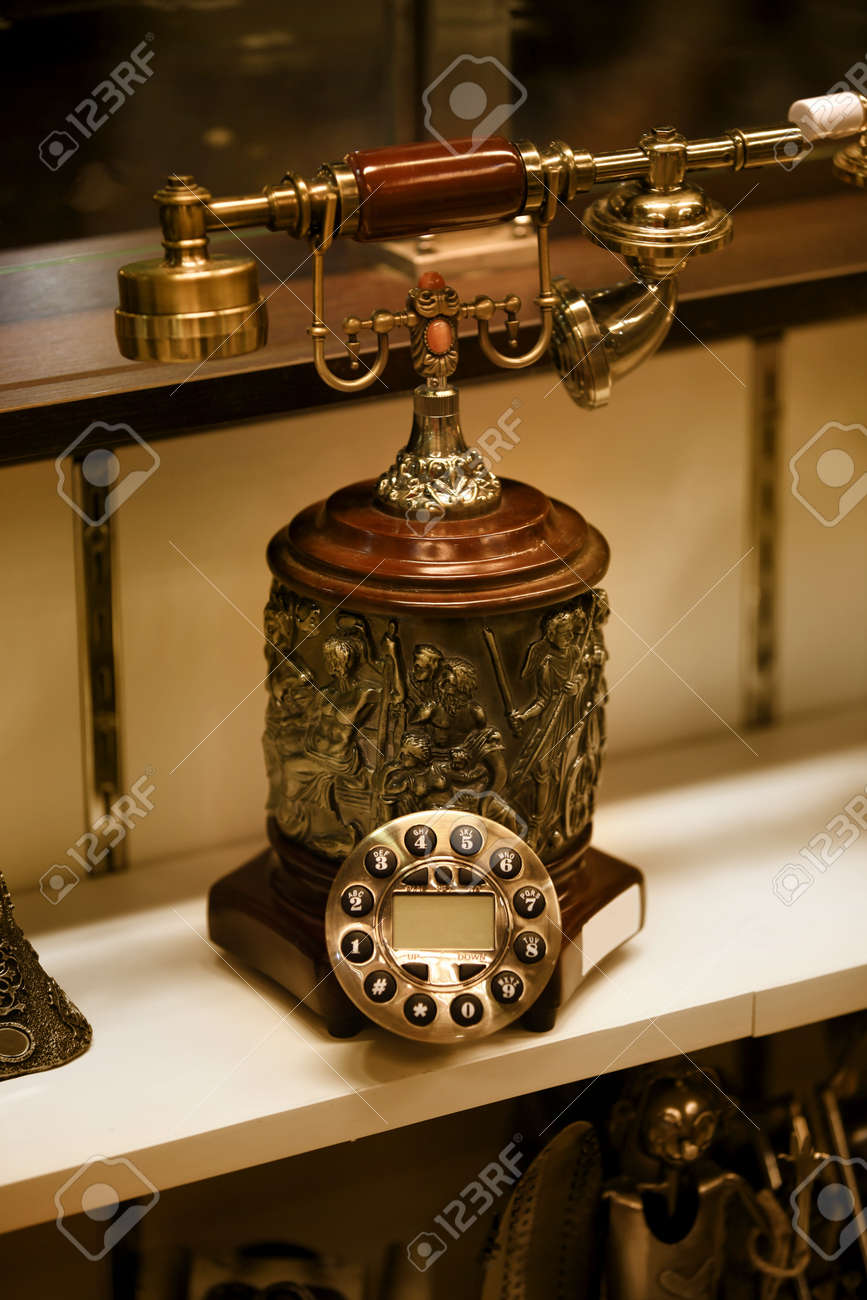 medium resolution of close up shot of old antique telephone stock photo 20655052