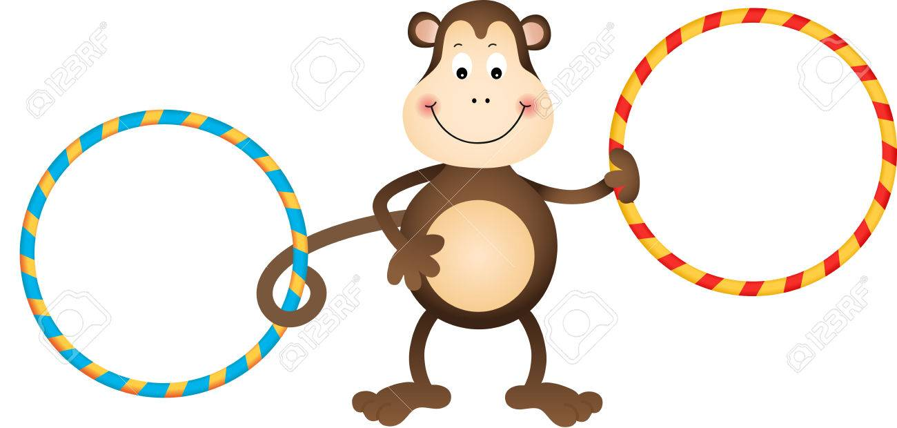 hight resolution of monkey with hula hoops stock vector 27374754