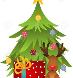 cute reindeer with christmas tree and gift stock vector 67096097 [ 950 x 1300 Pixel ]