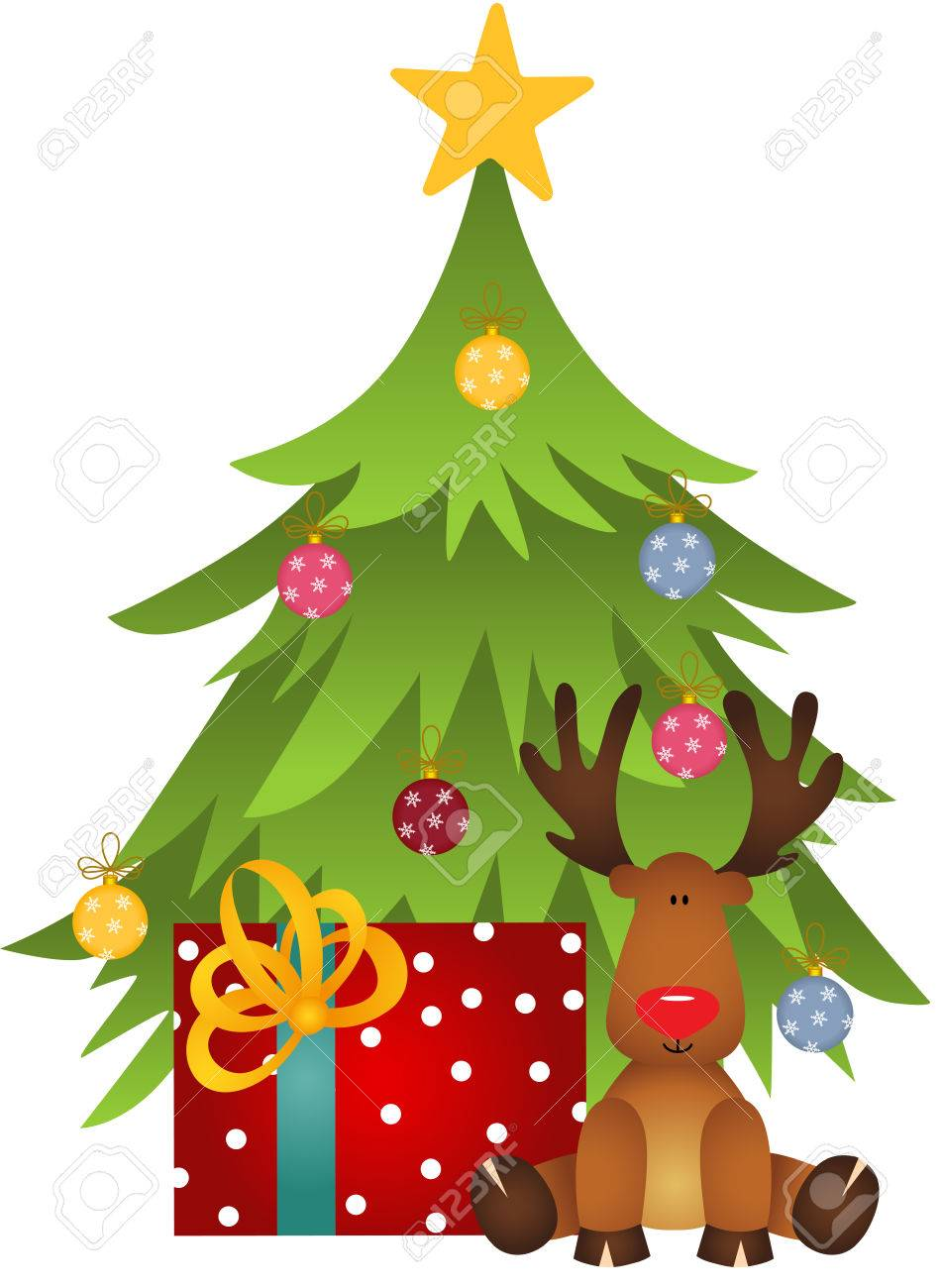 hight resolution of cute reindeer with christmas tree and gift stock vector 67096097