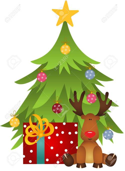 small resolution of cute reindeer with christmas tree and gift stock vector 67096097