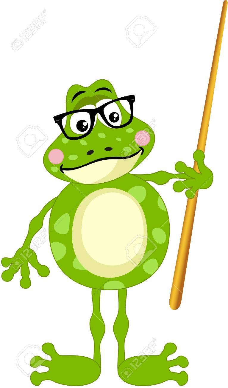 hight resolution of cute frog teacher stock vector 68927488
